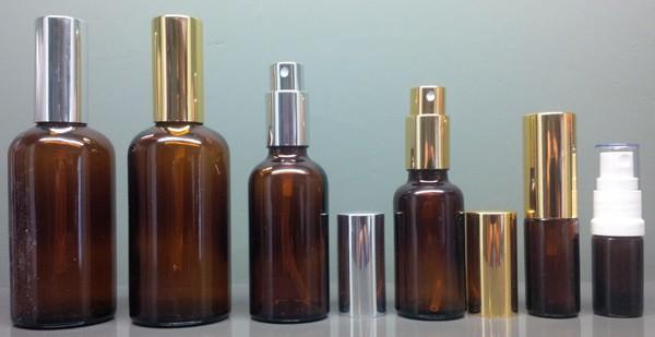 Amber Glass Spray Mister Bottles Complete