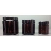 Glass Amber Jars ultra wide necks