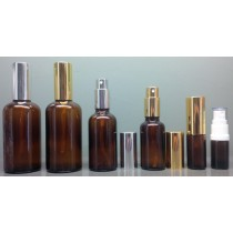 Amber Glass Spray Mister Bottles Complete