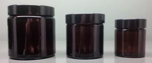 Glass Amber Jars ultra wide necks