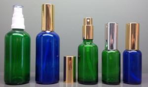 Coloured Glass Spray Mister Bottles Complete