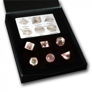 Platonic Solids rose quartz set